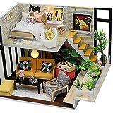 akaddy Handgemachte DIY Haus Spielzeug Montage Gebäude Modell Miniatur Puppenhaus, Geburtstagsgeschenke für Frauen und Mädchen