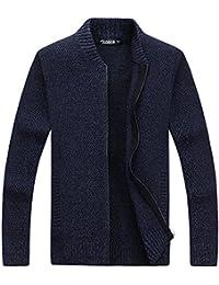 Zicac Männer Studenten Herbst Winter Pullover Pullover Langarm-Mantel Voller Reißverschluss Einfarbig Klassische Britsh Stil Business Gentleman Strickwaren Strickjacken Pullover
