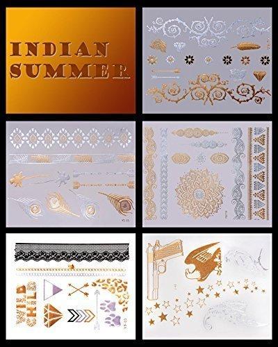 5x Set Oro Tattoos, Argento Tatuaggio, Flash tatuaggio, India Falso tattoos, temporaery tatuaggio, Indiano Summer tattoos, XXL, sexy Accessori alla moda - LK Trend stile
