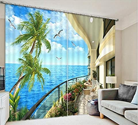 KKLL Polyester 3D Sea view Villa Dolphin jump Three dimensional Visual space Blackout Noise Reducing Drape Solid Thermal Panel Curtains for Bedroom Home Decor Window Drapes , 1 , wide 2.03x high 2.41