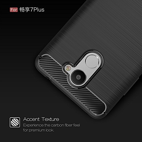 Brushed Carbon Fibre Robuste Rüstung Stoßstange Fall Schock Absorbtion Drop Resistance Shell Back Cover für Huawei Genießen Sie 7 Plus ( Color : Red ) Blue