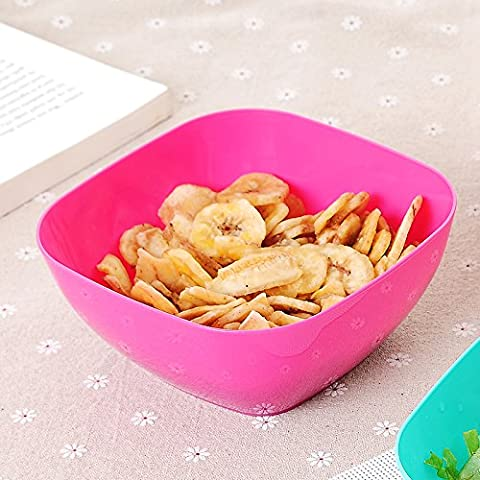 Fruit Plate Food Plastic Square Fruit Plate Salad Bowl Two Loaded, 14 * 7 * 9Cm, Rose Red