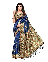 Ishin Poly Silk/Blended Mysore Silk Navy Blue Printed Women's Saree/Sari With Tassels
