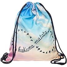 Loomiloo Hakuna Matata - Mochila con cuerdas, diseño de símbolo de infinito de Hakuna Matata