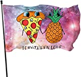 Viplili Bandiere/Bandiera, I Love Pineapple Belong to Pizza Logo Flag 3x5 FT Garden Flag Tough The Strongest, Longest Lasting Flag National Flag Outdoor Flags