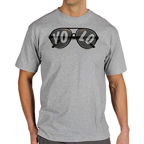 YOLO Black Glasses Dotted Background Herren T-Shirt Grau