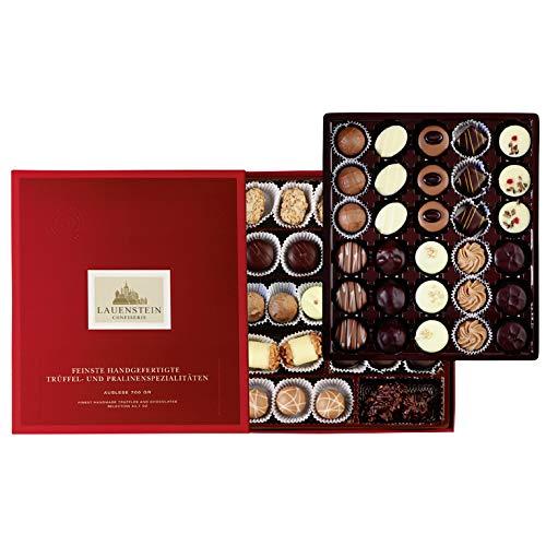 Lauensteiner große Pralinen-Auslese | 700g in Geschenk-Schachtel - 58 feinste Trüffel und Pralinen in 21 Sorten mit/ohne Alkohol | das ideale Schokoladen-Geschenk