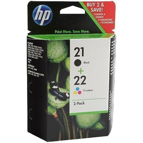 HP 21/22 - Paquete de 2 cartuchos de tinta para impresora de inyección (190 paginas blanco y negro, 165 paginas color), color negro y tri-color CMY