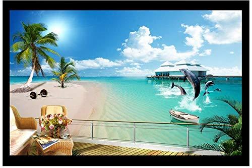 MINCOCO Maßgeschneiderte 3D-Wandbild Dolphin Beach Meerblick hinter dem Fernseher Sofa Hintergrundbild Das Wohnzimmer Große Nahtlose Videowand Landschaft @ 150X105Cm (59,1X41,3 Zoll) Dolphin Papier