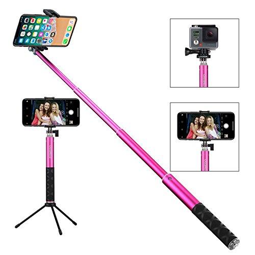 Foneso Selfie Stick Monopod con control remoto Autorretrato Con Tripié Bluetooth para Smartphones y GoPro Rosa