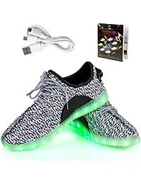 Shinmax Frühling-Sommer-Herbst-Breathable LED Schuhe 7 Farben USB Aufladbare Leuchtschuhe Kinderschuhe Erwachsene mit CE-Zertifikat für Halloween Weihnachten Dank Giving Day