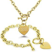 Placcato Oro Acciaio Inossidabile Doppia Infinito Icona Inciso Modifica del Cuore Toggle Bracciale e la Collana