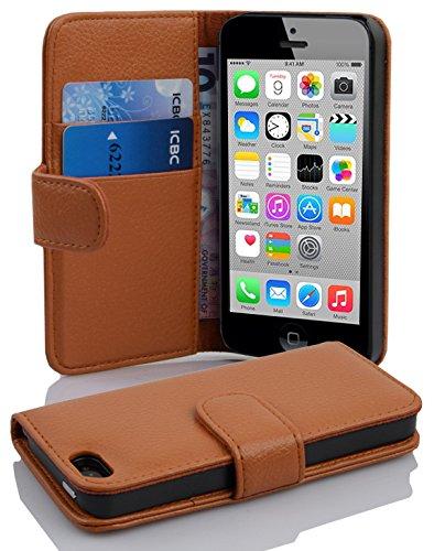 Cadorabo - Etui Housse pour Apple iPhone 5C - Coque Case Cover Bumper Portefeuille (avec fentes pour cartes) en NOIR DE JAIS COGNAC / MARRONE