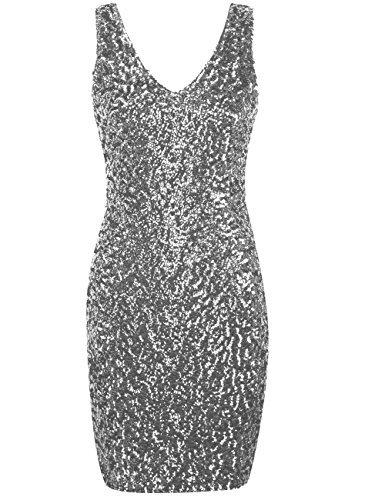 r Jahre V-Ausschnitt Pailletten Bodycon Mini Cocktailkleid L Silber (Silber Flapper Kleid)