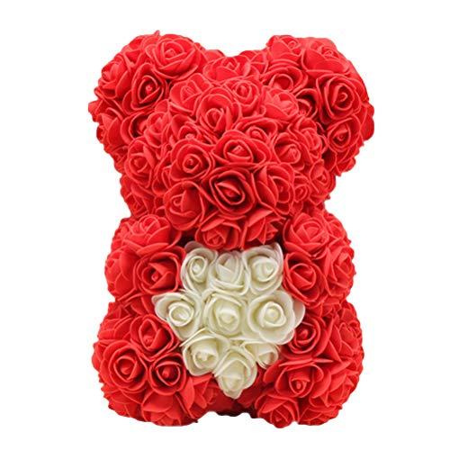 Amosfun Peluche Orsacchiotto Amore Cuore Rose Teddy Bear Fiore San Valentino Anniversario Compleanno Regalo Nozze (Rosso)