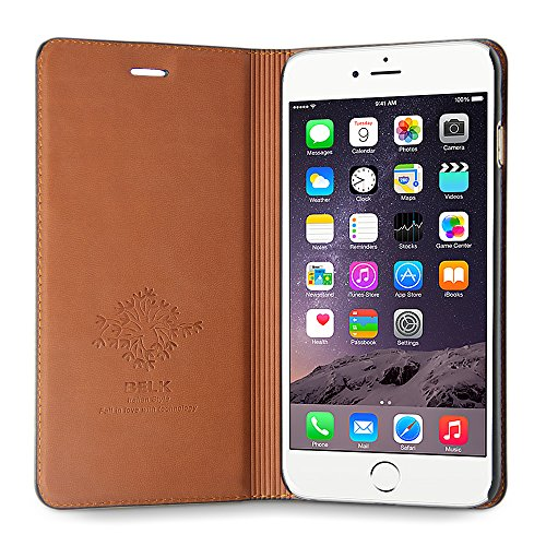 BELK iPhone 6s 4.7 Litchi echtes Leder-Kasten, harter PC Shell + Premium-High-End-Immobilien-Rind Insgesamt Cover + Einstellbare Betrachtungsstandplatz - Schwarz schwarze Farbe 6s plus