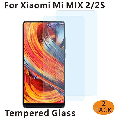 BESTCASESKIN [2-Pack Protector Pantalla Xiaomi Mi Mix 2S, Cristal Templado [Cristal + Resina] Vidrio Templado con [3D Borde Redondo] [9H Dureza] [Alta Definicion]