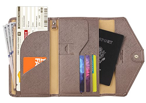 Zoppen RFID Blocker Reisepasshülle (Ver. 4) Passport Hülle Halter dreifach Dokumente Organizer (#18 Schokolade)