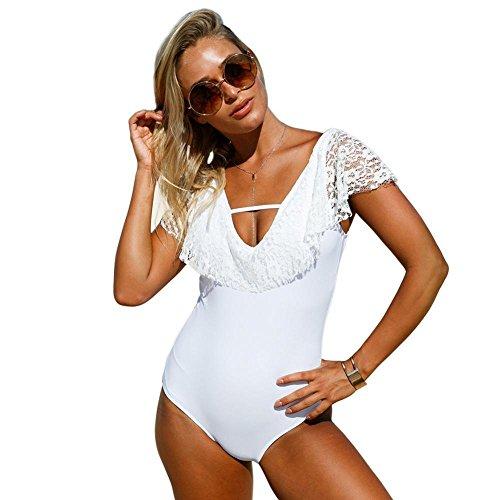 Ärmel Kostüm Kurze Falten - Luziang Damen Schwimmen Kostüm Beachwear,Europäische und amerikanische Schwimmbad V-Kragen Kurze Ärmel Spitze Spitze Falten mit Brust Mat siamesische Badeanzug