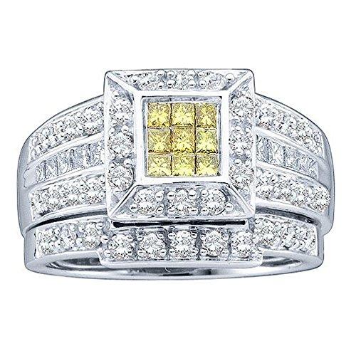 1,00Karat (ctw), 14K Weiß Gold Round & Princess Cut weiß & gelb Diamant Brautschmuck Hochzeit Ring Set 1CT (1-karat-diamant Ring Princess Cut)
