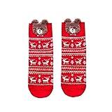 Gedruckte Weihnachtsstrümpfe,Fashion Christmas Elk Print Baumwollsocken bedruckte Koralle Fleece warm Socken URIBAKY