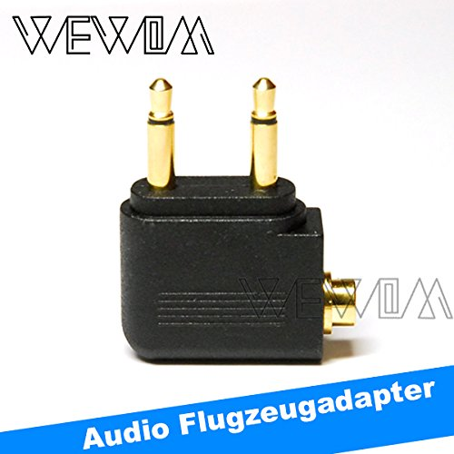 Bluetooth-ohrhörer-konverter (WEWOM Audio Flugzeugadapter für Kopfhörer 2x 3,5mm Mono Klinke auf 3,5mm Stereo Buchse Vergoldet)
