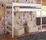 Etagenbett Hochbett verschiedene Holzfarben Variantenauswahl Jugendbett-HUGO Seiteneingang (90 x 180 cm, Weiß)