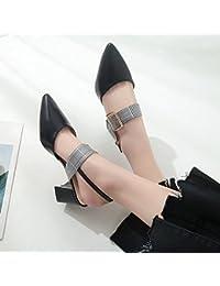 Xue Qiqi Sandalen Mädchen wilde rauhe mit Schlitz für Frauen Schuhe weich MEI Hong Mei, und, 36, Schuhe beige