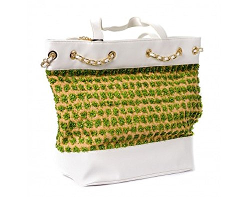 Borsa Shopping Secret Pon Pon 593004 Green/White