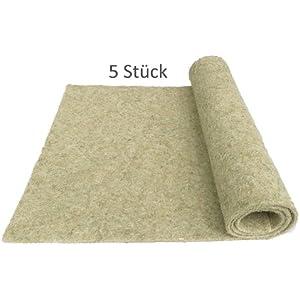 Nager-Teppich aus 100 % Hanf, 120 x 60 cm 5 mm dick, 5er Pack (EUR 6,39/Stück), Nagermatte geeignet als Käfig Bodenbedeckung z.B. für Kaninchen, Meerschweinchen, Hamster, Degus, Ratten und andere Nagetiere.