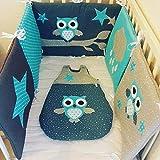 ensemble tour de lit et gigoteuse bébé, en gris bleu canard et turquoise motif chouette, idée cadeau ou liste de naissance, fait main