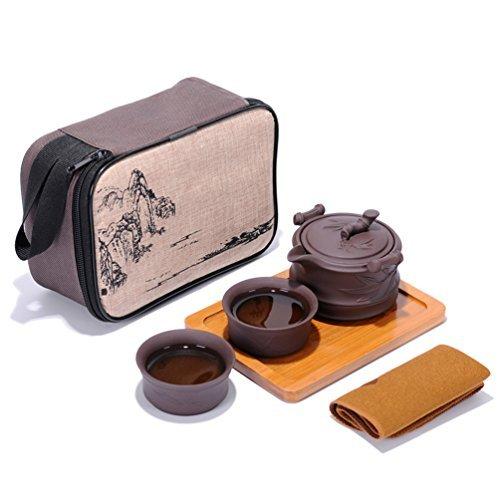 Tragbare Reise Kungfu Zisha Tee Set, handgefertigte lila Ton Teekanne & 2 Teacups, traditionelle chinesische ( Bambus-Stil)