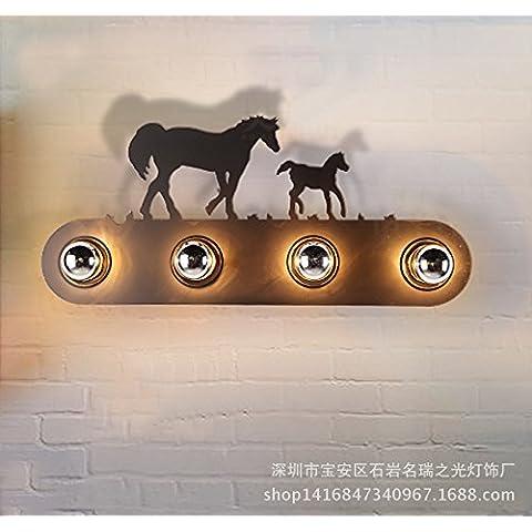 KMDJ American Country rústico industrial LOFT cabecera de hierro forjado de pasillo Dormitorio Villa rustica Mustang lámpara de pared lámpara de pared 580*30 (mm)