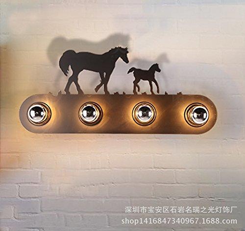 CNMKLM Country americano rustico LOFT industriale navata comodino in ferro battuto camera da letto rustica Villa Mustang parete lampada da parete 580 * 30 (mm)