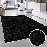 Shaggy-Teppich, Flauschiger Hochflor Wohn-Teppich, Einfarbig/Uni in Schwarz für Wohnzimmer, Schlafzimmmer, Kinderzimmer, Esszimmer, Größe: 200 x 200 cm Quadratisch
