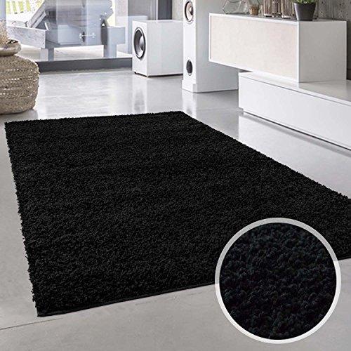 Shaggy-Teppich, Flauschiger Hochflor Wohn-Teppich, Einfarbig/Uni in Schwarz für Wohnzimmer, Schlafzimmmer, Kinderzimmer, Esszimmer, Größe: Läufer 60 x 110 cm -