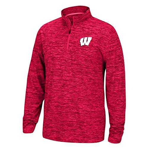 eLITe Top of The World NCAA Men's Wisconsin Badgers Team Color Space Dyed Poly Quarter Zip Pullover True Red Small