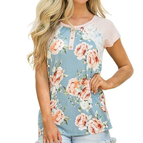 JiaMeng Muttertags Sommer Damen Druck Spitze Knopf Schönheits Feste Spitzenhemd beiläufige Spitzen T-Shirt Bluse (L, Blau) - Schönheit Tank