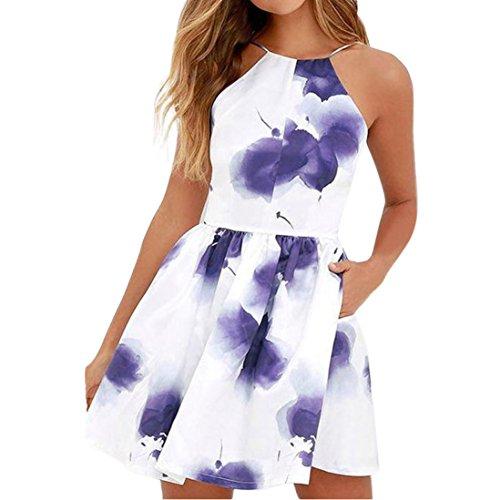 OSYARD Damen Sommer Mode Strap Drunk Kleid mit Blumenmuster Strandkleider Style Rückenfrei...