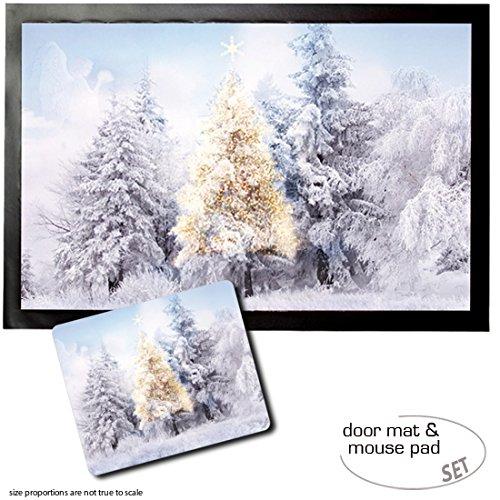 Set: 1 Fußmatte Türmatte (60x40 cm) + 1 Mauspad (23x19 cm) - Weihnachten, Im Verschneiten Winterwald -
