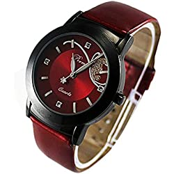 Silvercell Women Quartz Analog Rhinestone Wrist Watch Red