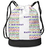 Alice_Home_Collect Birthday Anagrams Drawstring Backpack Sports Athletic Gym Cinch Sack String Storage Bags for Hiking Travel Beach