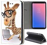 Samsung Galaxy S5 / S5 Neo Hülle Premium Smart Einseitig Flipcover Hülle Samsung S5 Neo Flip Case Handyhülle Samsung S5 Motiv (1489 Giraffe Animiert mit Brille und Buch)