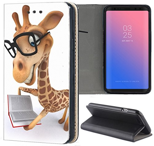 Samsung Galaxy A5 2017 A520 Hülle Premium Smart Einseitig Flipcover Hülle Galaxy A5 2017 Flip Case Handyhülle Samsung A5 2017 Motiv (1489 Giraffe Animiert mit Brille und Buch)