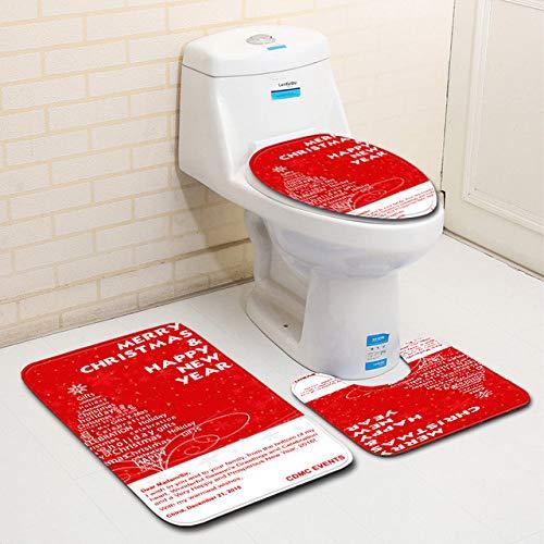 YSDDM Toilettenmatte,Weihnachtsbadematten-Set WC-Dekor Bodenteppich Mikrofaser-Badsockelteppich WC-Eingangsmatte Absorptionsfußmatte, L0045,45 x 75 cm 3-TLG