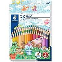 Staedtler crayons de couleur Noris Club, formule ABS anti-casse, norme CE EN71, bois certifié PEFC, 36 coloris assortis en étui carton, 144 ND36