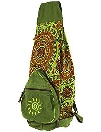 Guru-Shop Ethno Rucksack, Patchwork Schultertasche - Hellgrün, Herren/Damen, Baumwolle, 45x25x20 cm, Ausgefallene Stofftasche