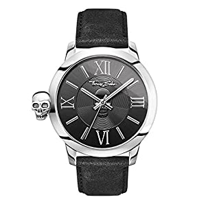 THOMAS SABO Men Men's Watch Rebel with Karma Stainless Steel; Leather Black Leather Strap in Vintage Look WA0296-218-203