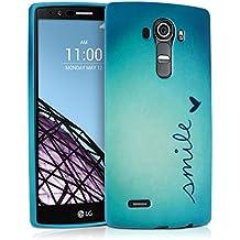kwmobile FUNDA de TPU silicona para LG G4 Diseño Smile azul turquesa - Estilosa funda de diseño de TPU blando de alta calidad