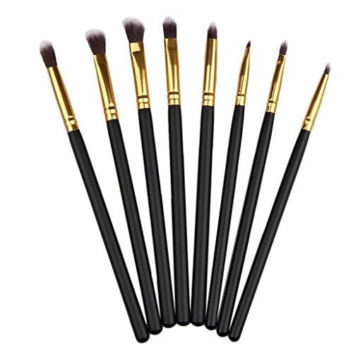 Honestyi 8PCS composent ensemble de brosses Pinceaux pour les yeux Pinceaux d'ombre à paupières Eyeliner (Or)